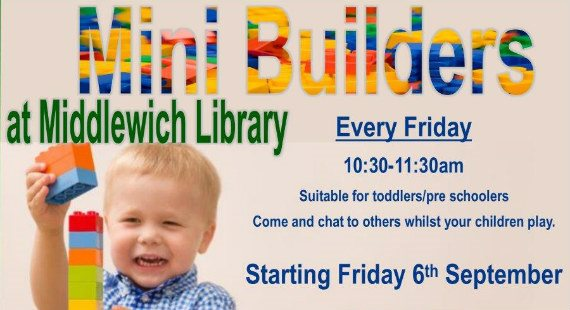Mini Builders at Middlewich Library poster
