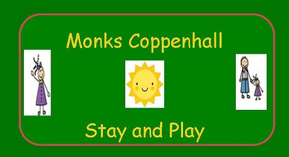 Monks Coppenhall Children's Centre Stay and Play with cartoon mum, cartoon dad and child and sun