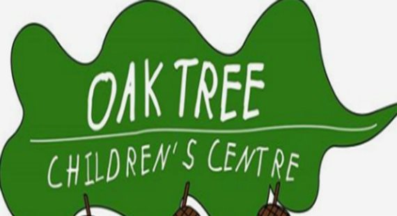 Leaf logo with writing Oak Tree Children's Centre