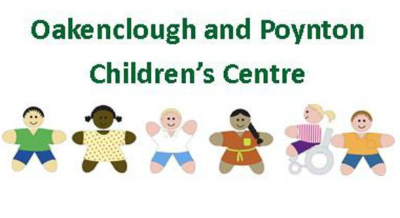 Oakenclough and Poynton children's centre inclusive logo and title