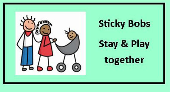 Cartoon mum, dad and baby in a pram with text Sticky Bobs Stay and Play together