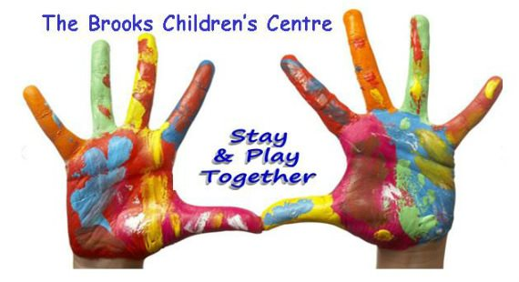 The Brooks Children's Centre Stay & Play Together and a pair of children's painted hands