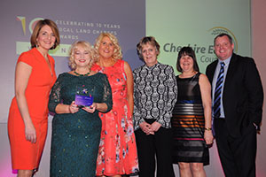 The award winning Civicance Land Charges team of Wendy Gidman, Anne-Marie Eustance, Jane Timlott and Jane Miller with television personality Kaye Adams (left) and Greg Bryce, managing director of awards sponsors SearchFlow