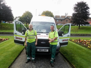 Mark Birtles and Jonathan Bailey, from Ansa, who prepared the gardens for the Passchendaele service