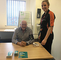 Cllr Paul Bates blood pressure test