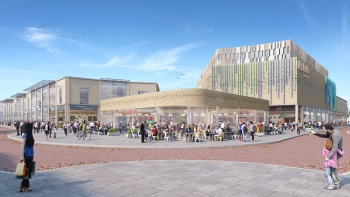 An artist's impression of the proposed Royal Arcade development, including the new bus station.
