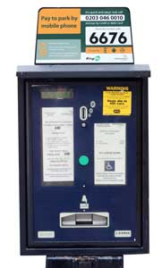 A Cheshire East Parking meter fitted with RingGo information