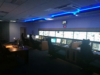 Central monitoring control room in Macclesfield Town Hall