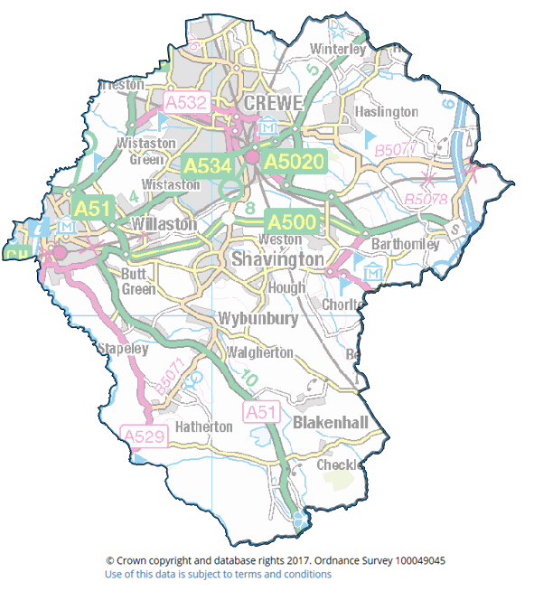 "Crewe and Nantwich Constituency i. ""You are granted a non-exclusive, royalty free, revocable licence solely to view the Licensed Data for non-commercial purposes for the period during which Cheshire East Council makes it available; ii. you are not permitted to copy, sub-licence, distribute, sell or otherwise make available the Licensed Data to third parties in any form; and iii. third party rights to enforce the terms of this licence shall be reserved to Ordnance Survey"""