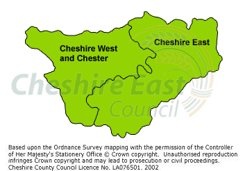 Cheshire map showing the boundaries of Cheshire East Council and Cheshire West and Chester Council