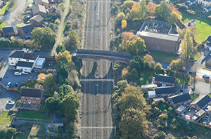 Birds eye view of the existing bridge with Tiny Tots nursery to the left of the image