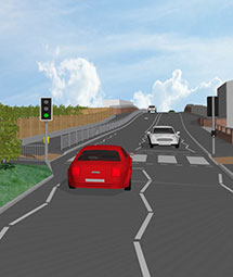 Artists impression of the completed scheme looking Northwest bound, towards the bridge,  from the new pedestrian crossing
