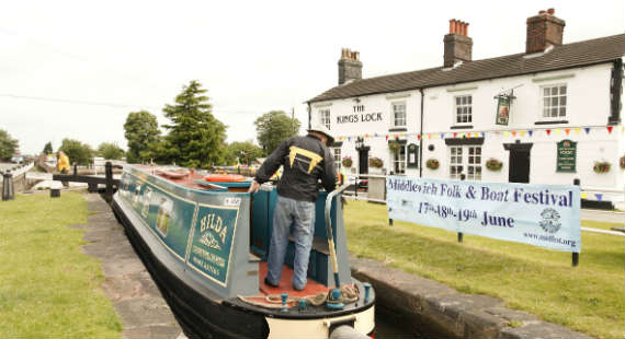 Kings Lock Middlewich with barge