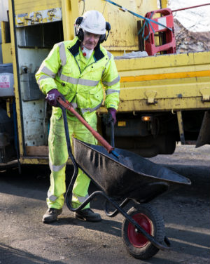 A Cheshire East Council Highways employee at work