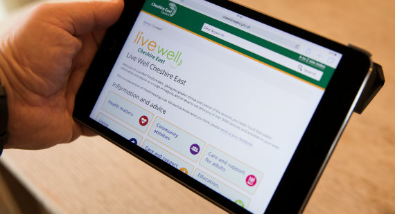 The Live Well Cheshire East homepage shown on a tablet computer