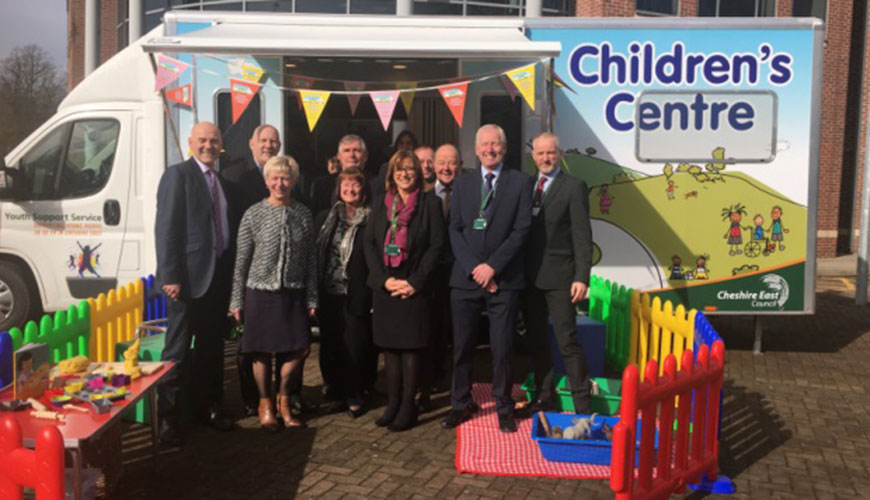 Cheshire East Council staff outside a mobile children's centre
