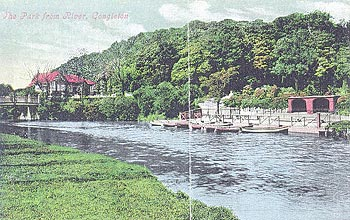 An old postcard showing the Park from the River