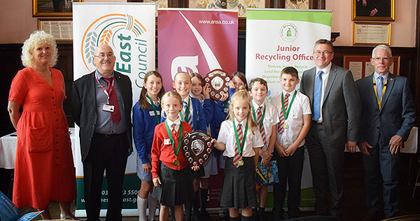 .Junior Recycling Officer Joint winners-Bexton Primary School,Knutsford and-Highfields Academy Nantwich with judges
